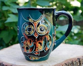 Large coffee mug for women - Ceramic mug - Owl - Coffee cup - Mom gift - Daughter gift - Green - Owls mug - Office gift - Stoneware mug