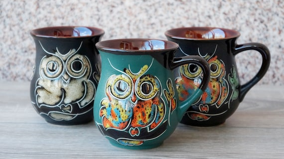 Сeramic coffee mug pottery handmade  Owl mug set of 3 Colorful cup 9.5 oz Coffee bar shelf accessories Family gift