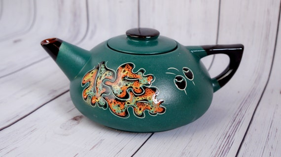 christmas gift oak leaf teapot ceramic green 33.8 oz mom gift birthday pottery tea pot owl family gifts