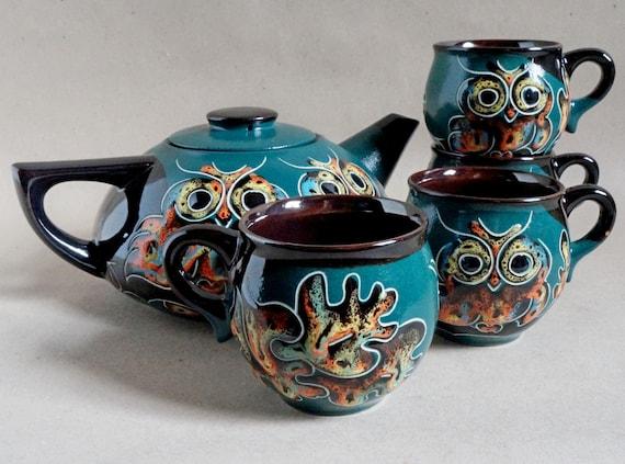 Tea set Owls Teapot set Ceramic pottery Green Owl teapot Tea kettle Pottery mug Wife gift Tea mug Mothers gift Housewarming gift Birthday