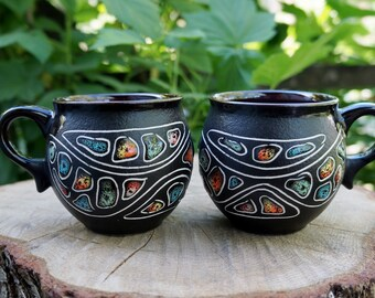 Birthday gifts for mom from son Set of 2 ceramic coffee mug 6.5 oz Handmade tea cup colorful stones cappuccino cup Farmhouse style