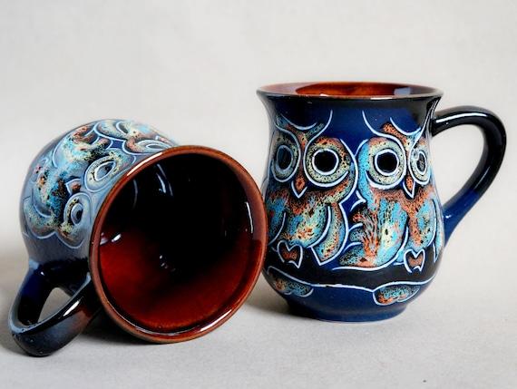 Blue ceramic coffee mug owl 9.5 oz Birthday gift for sister gift for mom for grandma