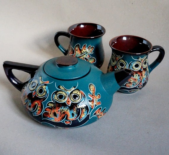Green kitchen set Owls Ceramic tea set Gift daughter Family Tea gift Hand painted pottery Ceramic tea service Ceramic tea pot
