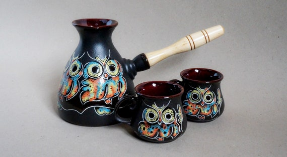 coffee serving set owl turkish coffee pot ceramic turk & 2 cups unique gift for her birthday wife gift daughter gift wedding gift ideas