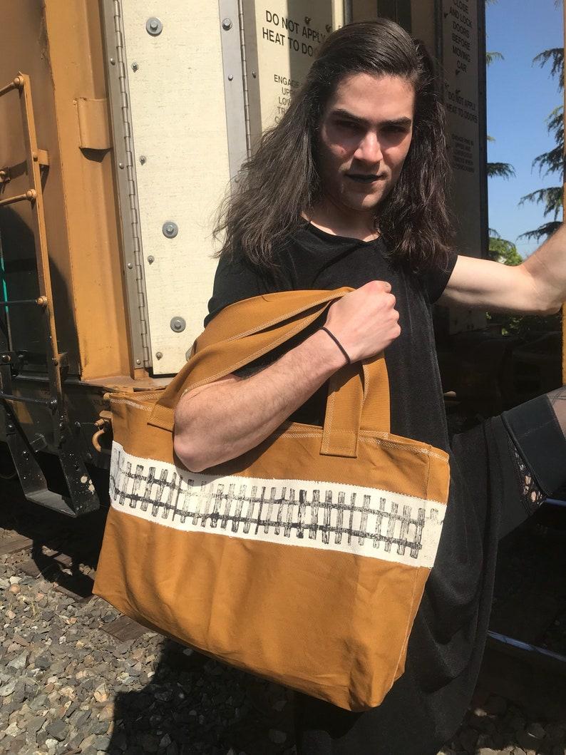 Large brown railroad track tote bag