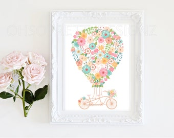 "Digital Print Art- Floral Hot Air Balloon Vintage Bike - Nursery or living art - Pink 8x10"" DESIGN 038"