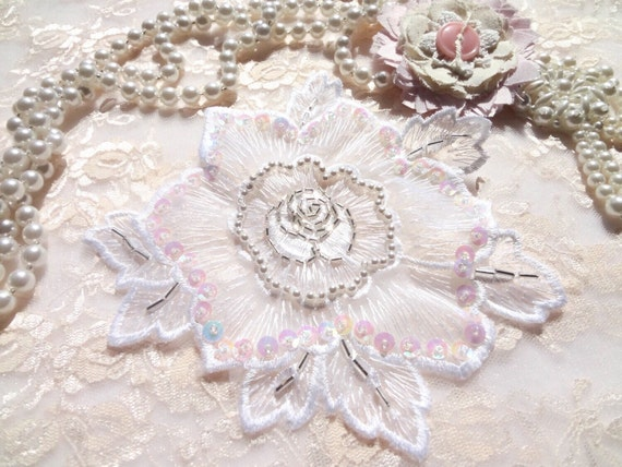 Vintage flower applique shabby chic applique beaded etsy