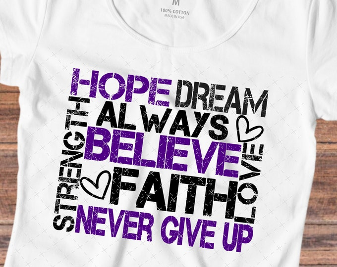 Hope SVG, Believe svg, Faith svg, Never Give Up svg, Svg Cutting Files, Cricut Files, Silhouette Files - SV117
