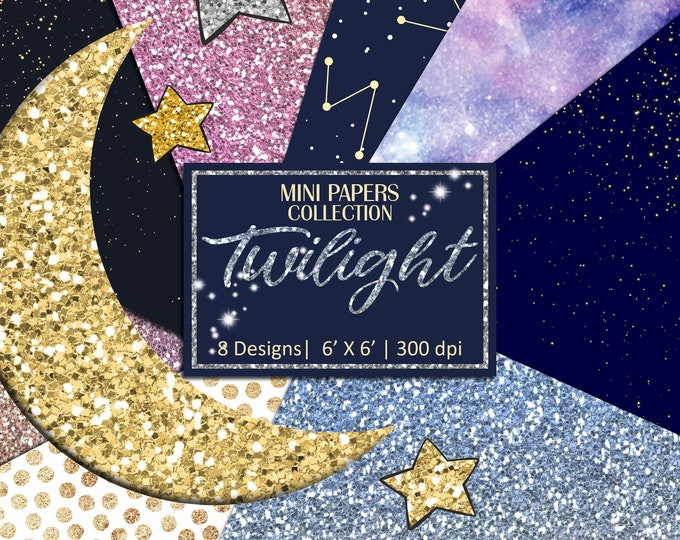 Twilight Mini Papers, Whimsical Celestial Ombre Glitter, Scrapbooking, Planner Stickers, Background - MP988