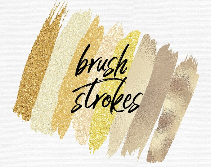 Gold Brush Strokes Clip Art | Gold Foil Glitter | Commercial Use  - PB899