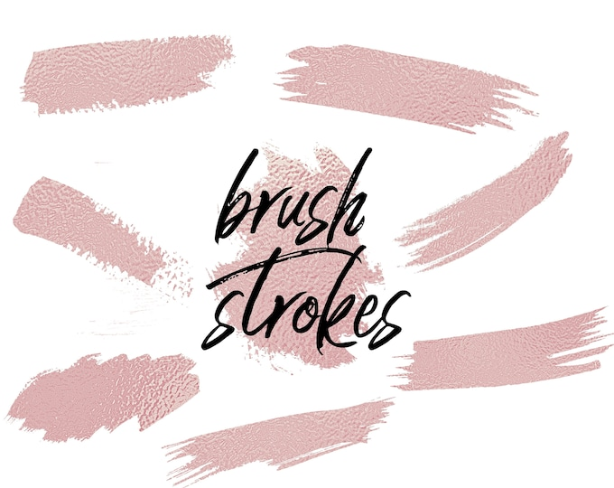 Rose Gold Foil Brush Strokes Clip Art | Commercial Use - PB820
