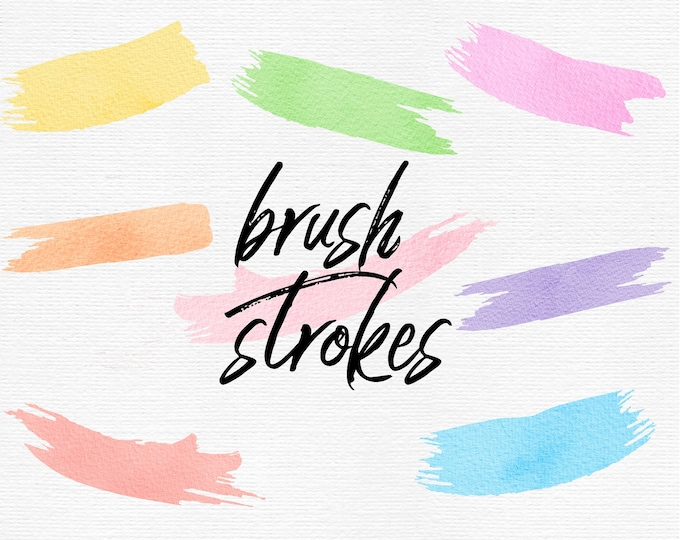 Pastel Watercolor Brush Strokes Clip Art Commercial Use - PB810