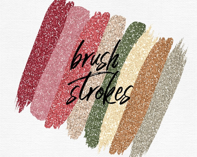 Fall Glitter Brush Strokes Clip Art | Commercial Use - PB817