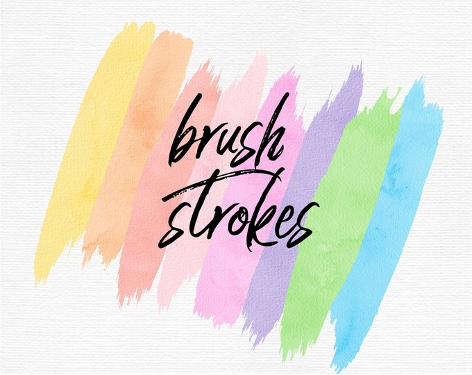Pastel Watercolor Brush Strokes Clip Art | Commercial Use - PB908