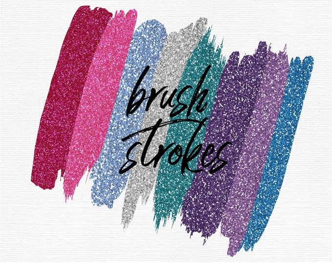 Glam Glitter Brush Strokes Clip Art | Pink Purple Green Blue Silver Glitter | Commercial Use | Planner Stickers - PB822