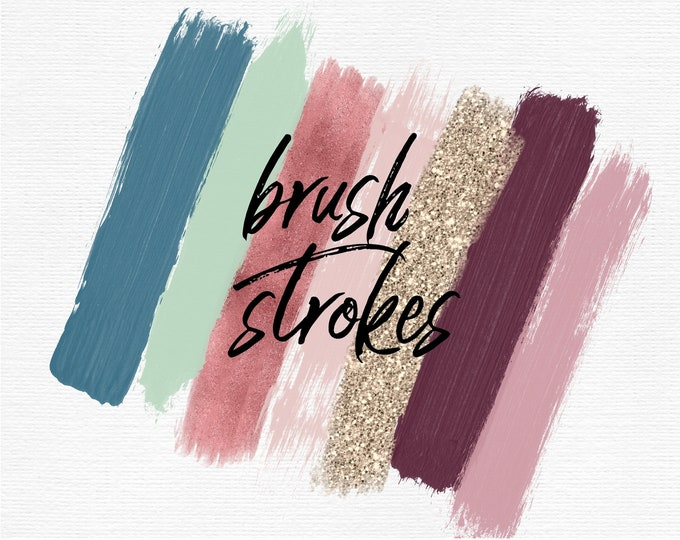 Farmhouse Brush Strokes Clip Art | Rose Gold Blue Plum Gold Glitter | Commercial Use | Planner Stickers - PB812