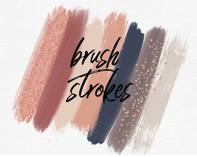 Autumn Brush Strokes Clip Art | Navy Blush Champagne Rose Gold Glitter | Commercial Use - PB899