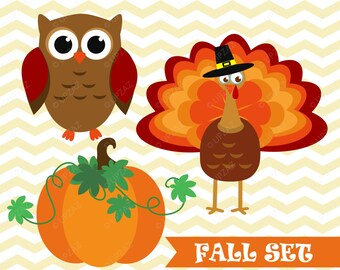 Fall SVG Cut files, Turkey Clipart, Pumpkin Clipart, Owl Clipart - UZ1008