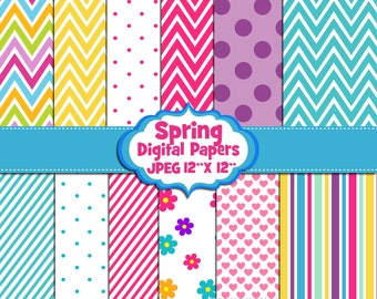 Spring Digital Papers, Scrapbook papers, Background, Digital Images - UZ881