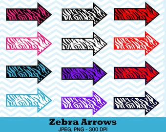 Arrow Clipart, Zebra Print Arrows and Pointers, Digital Images - UZ711