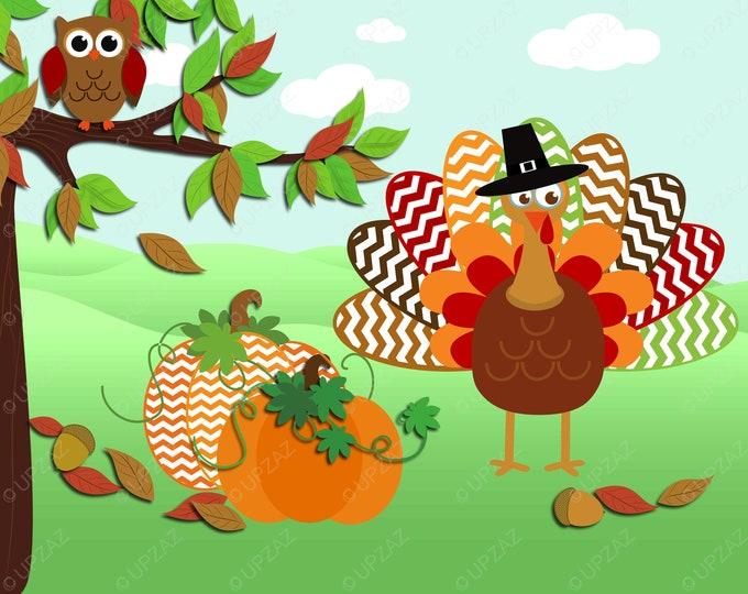 40% OFF SALE Thanksgiving Clipart, Turkey Clip Art, Digital Images - UZ811