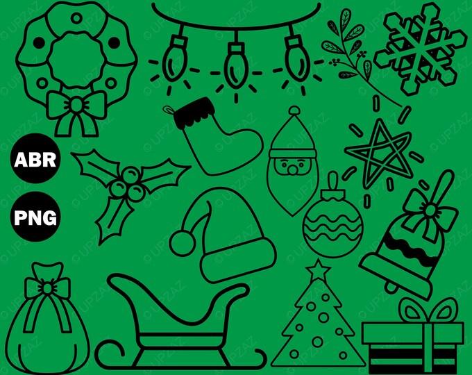 Christmas Brushes Photoshop, Photoshop Brushes, Digital Image - UZPSB988