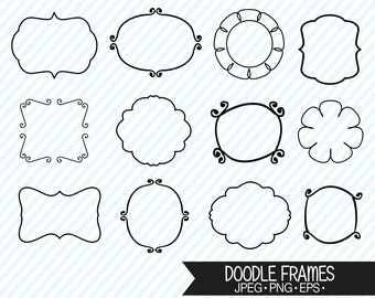 Hand Drawn Doodle Frame Clipart, Vector Graphics, Digital Images - UZ621