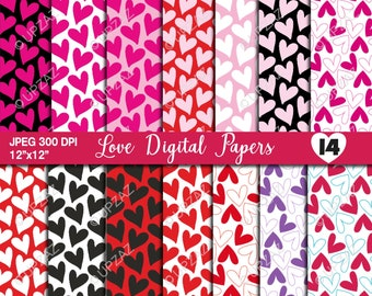 Heart Digital Papers, Scrapbook Papers, Background, Digital Images - UPDP525