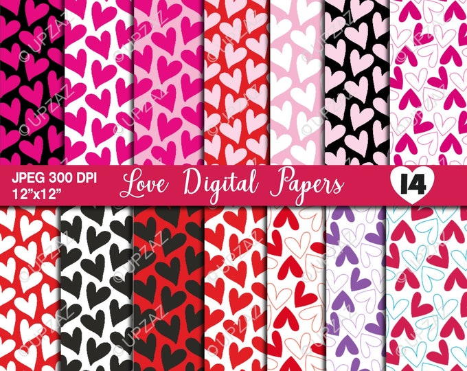 40% OFF SALE Heart Digital Papers, Scrapbook Papers, Background, Digital Images - UPDP525