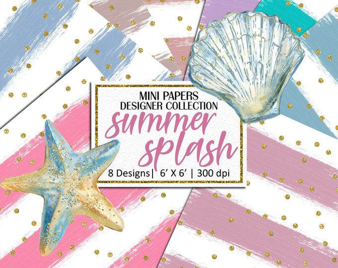 Summer Splash Mini Papers, Hand Painted Brush Strokes Gold Glitter Confetti, Scrapbooking, Planner Stickers, Background - MP850