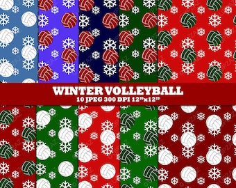 Volleyball Digital Papers, Scrapbook Papers, Digital Images, Background - UZ617