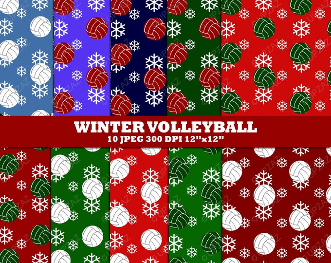40% OFF SALE Volleyball Digital Papers, Scrapbook Papers, Digital Images, Background - UZ617