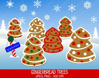 Gingerbread Tree Clipart, Commercial Use, Christmas Trees, Digital Clipart, Digital Images - UZ600