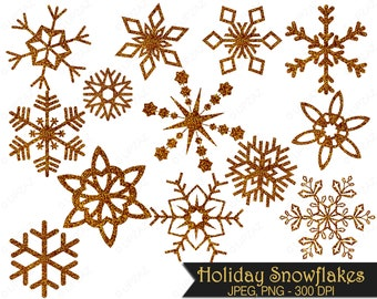 Glitter Snowflake Clipart, Gold Glitter Snowflakes, Commercial Use, Gold Snowflakes - UZ857
