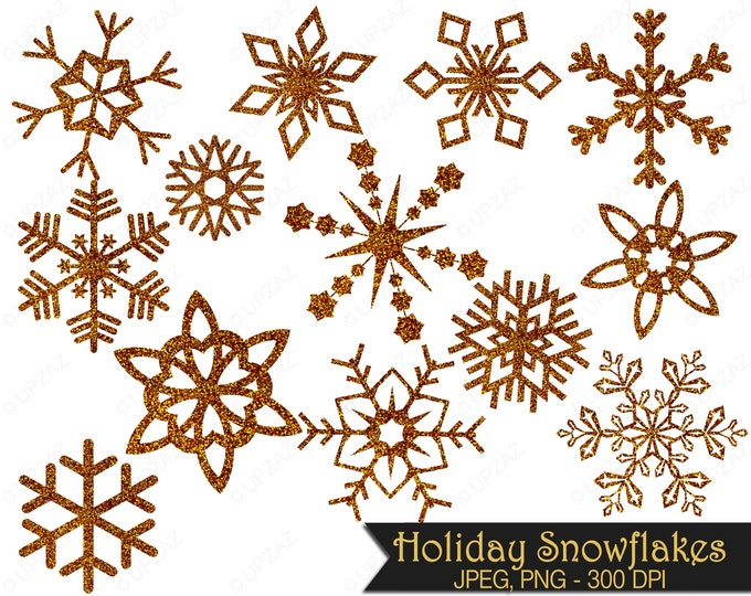 40% OFF SALE Glitter Snowflake Clipart, Gold Glitter Snowflakes, Commercial Use, Gold Snowflakes - UZ857