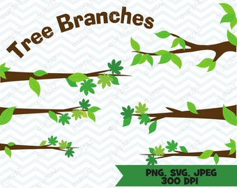 Tree Branches Clipart, Tree Limbs Clipart, SVG, Digital Images - UZ820