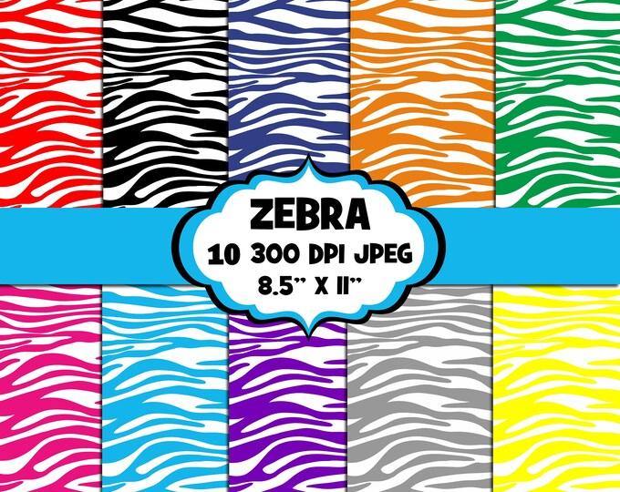 40% OFF SALE Zebra Print Digital Papers, Digital Images, Background - UZ838