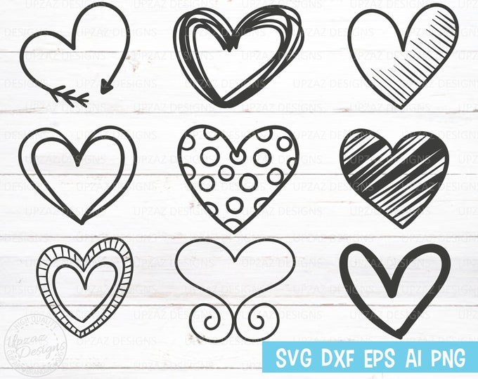 Heart SVG, Handdrawn Hearts, Handdrawn Clipart, Heart SVG Bundle, Valentine's Day SVG, Vector Graphics - PN228