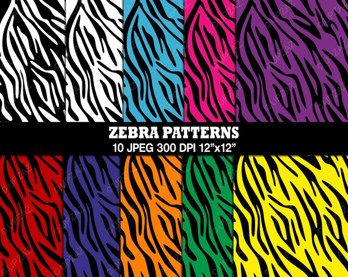 40% OFF SALE Zebra Print Digital Papers, Background, Digital Images - UZ813
