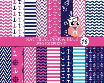 Nautical Digital Papers, Scrapbook Papers, Background, Digital Images - UZ615