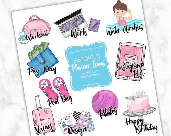 Daily Planner Icons, Commercial Use, Planner Printables, Printable Planner Stickers, DIY Stickers, PNG Images - PS815