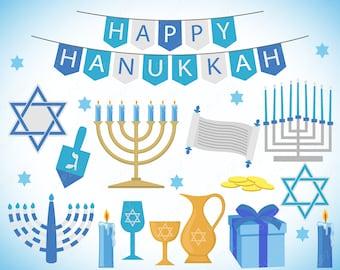 Hanukkah Clipart, Commercial Use, Jewish Holiday, Digital Image - UZ1122