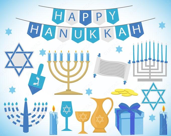 40% OFF SALE Hanukkah Clipart, Commercial Use, Jewish Holiday, Digital Image - UZ1122