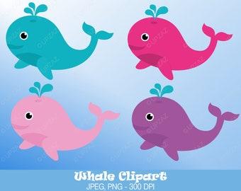 Whale Clipart, Digital Images - UZ589