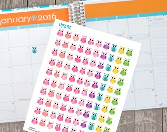 Owl Planner Stickers, Set of 100 Printable Planner Stickers, Instant Download - UZ827PS