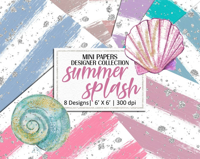 Summer Splash Mini Papers, Hand Painted Brush Strokes, Scrapbooking, Planner Stickers, Background - MP877