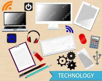 Technology Clipart, Office Workspace Clipart, Digital Images - UZ1001