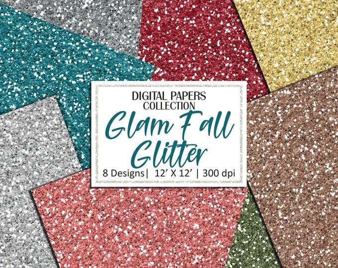 40% OFF SALE Fall Glitter Digital Papers, Background, Commercial Use - DP745