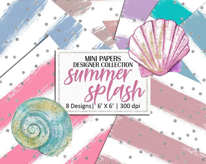 Summer Splash Mini Papers, Hand Painted Brush Strokes, Scrapbooking, Planner Stickers, Background - MP875