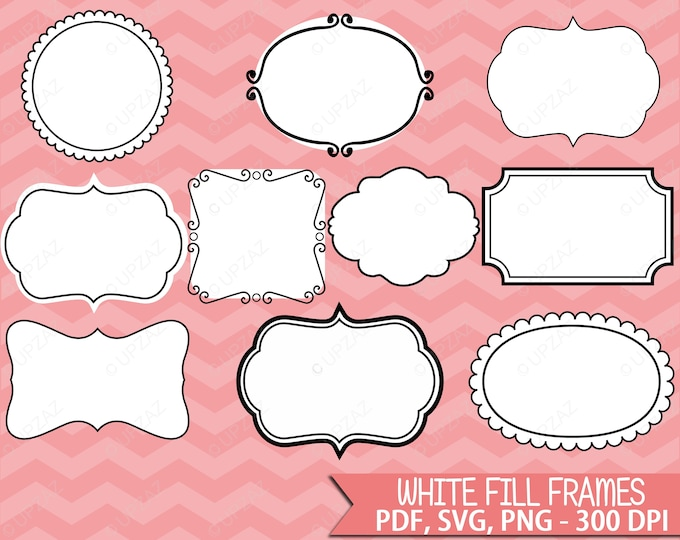 40% OFF SALE Frames Labels Clipart, Vector Graphics, Commercial Use, Doodle Frames, SVG Frames, Whimsical Labels - Uz810